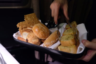 Flying Singapore Airlines Business Class SQ336 From Singapore To Paris - Assorted Bread For Selection
