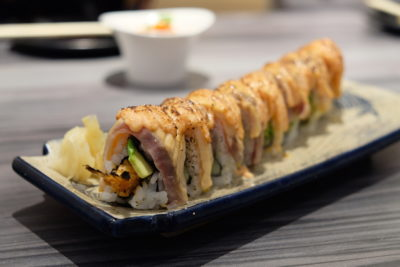 En Sushi At Prinsep Street Offering Reasonable Price Range Japanese Food - Spicy Ebi Fry Salmon Aburi Mentai Maki ($15.90)