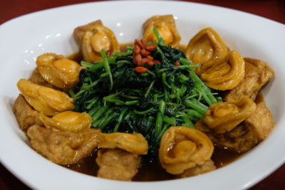 Yam's Kitchen 8-Course Mother's Day Cordyceps-infused Set Menu - Braised Ten Headed Abalone with Signature Tofu and Spinach in Cordyceps Sauce 冬虫草苋菜豆腐扣十头鲍