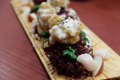 Yam's Kitchen 8-Course Mother's Day Cordyceps-infused Set Menu - Crisp Prawns and Purple Sweet Potato Shoestring Fries with Lychee & Apple Mayo 紫薯荔枝鲜果虾球