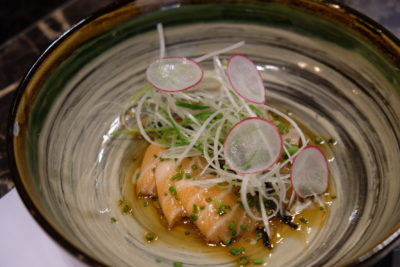 Rakuya At East Coast Road, A Restaurant With No Fixed Menu - Cold Dish, Salmon Carpaccio with homemade Ponzi and truffle oil