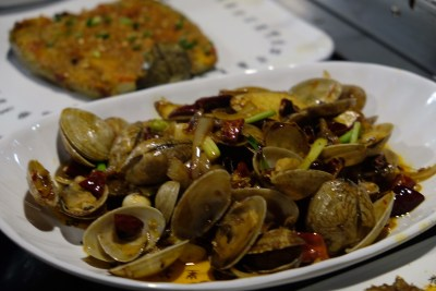 The Hungry Caveman At Orchard Central, Good Review For BBQ In Dianping Shanghai - Stir Fried Clams with Spring Onion ($11.80)