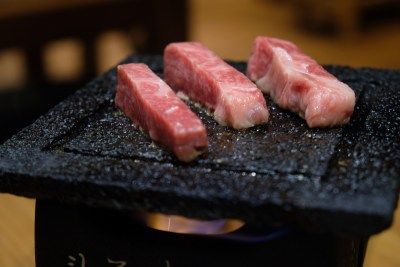 Yuzutei At Pasir Pahang Road Offers Flavourful Yuzu Shabu Shabu And Hot Stone Grill - A5 Zabuton Jorosu cuts on hot stone