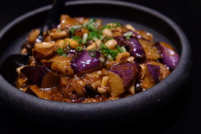 Yellow Pot At Six Senses Duxton Whipping Modern Chinese Dishes - Braised Sweet & Sour Eggplant ($14++)