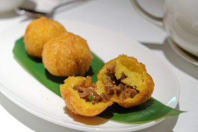 Madame Fan By Alan Yau At The NCO Club - Duck & Pumpkin Puff 金瓜火鸭球 ($7)