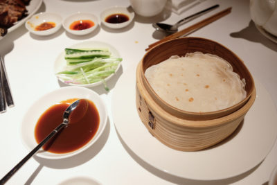 Madame Fan By Alan Yau At The NCO Club - Served with pancake, baby cucumber, Thai spring onion, duck sauce