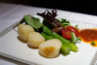 Singapore To Mumbai On SQ424 Business Class, Airbus A380-800 - Seared Scallop Mesclun