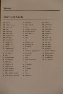 The Westin Mumbai Garden City At Goregaon East, Mumbai - TV Channel Guide