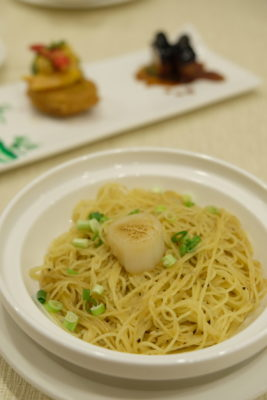 First Culinary Special Black Garlic Set Menu, Nutritiously Delicious - Stir-Fried Angel Hair Pasta with Scallop and Minced Black Garlic in White Truffle