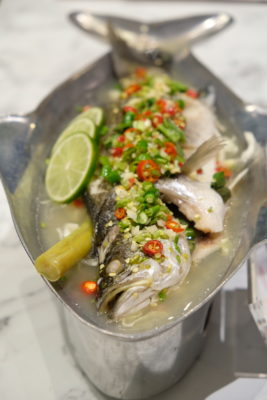 Go-Ang Kaomunkai Pratunam Chicken Rice Awarded Michelin Bib Gourmand In Thailand Is Now At Nex - Steamed Sea Bass with Chilli, Lime & Garlic (S$28)