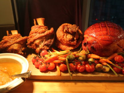 Santa's Christmas Circus Festive buffet at Mercure Singapore Bugis - Honey baked ham and crackling pork trotters