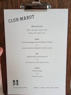 Clement Marot In Lille, Another Restaurant In The Michelin Guide - Menu of the day