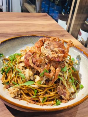 Wine & Gourmet Friends, Exclusive Wines Boutique And Restaurant - Black Pepper Crab Noodle ($18)
