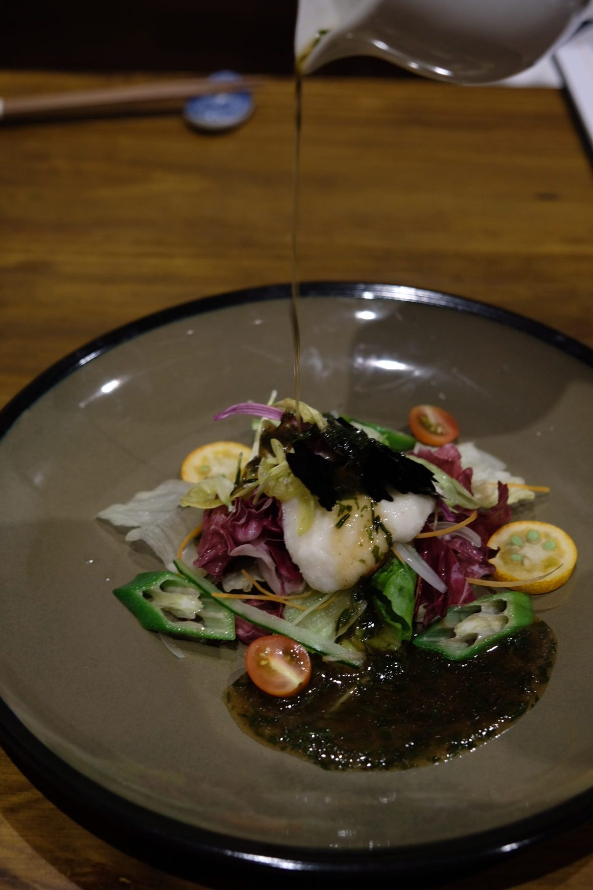 Teppan Kappou Kenji Offers Amazing Food - Healthy Salad with Japanese Dressing ($15)