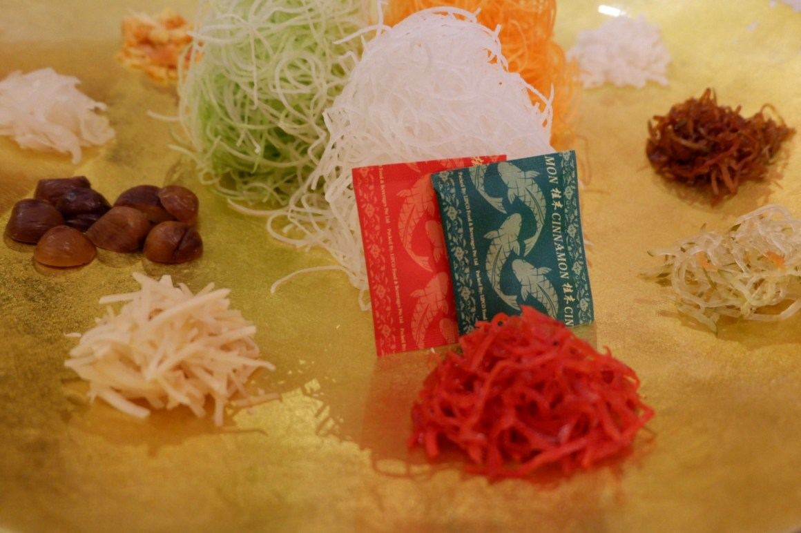Auspicious Lunar New Year Menu at Din Tai Fung, Singapore - Prosperity Smoked Salmon Yu Sheng, another view