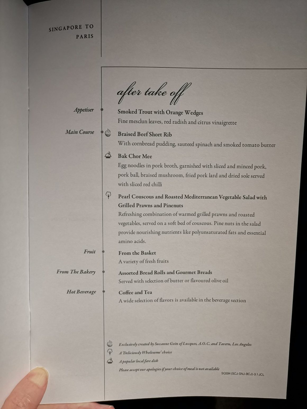 Singapore Airlines Business Class SQ334 From Singapore To Paris – After Take-off Menu
