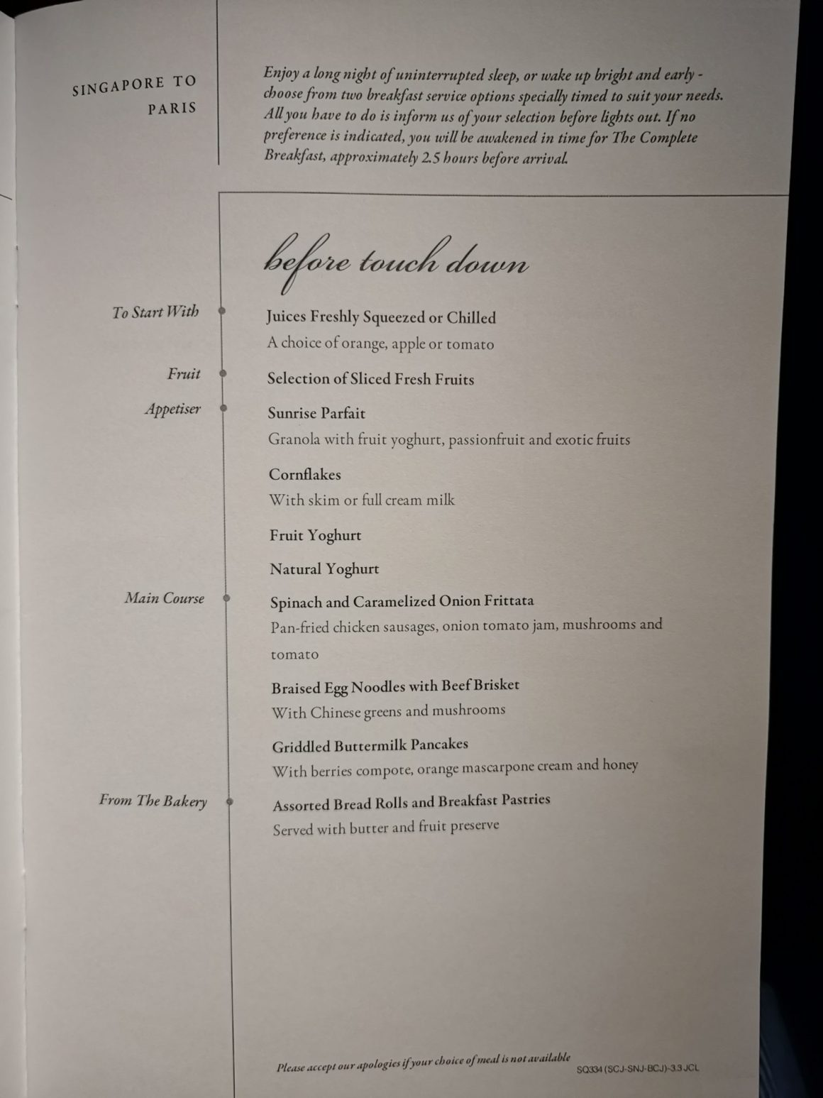 Singapore Airlines Business Class SQ334 From Singapore To Paris – Before landing Menu