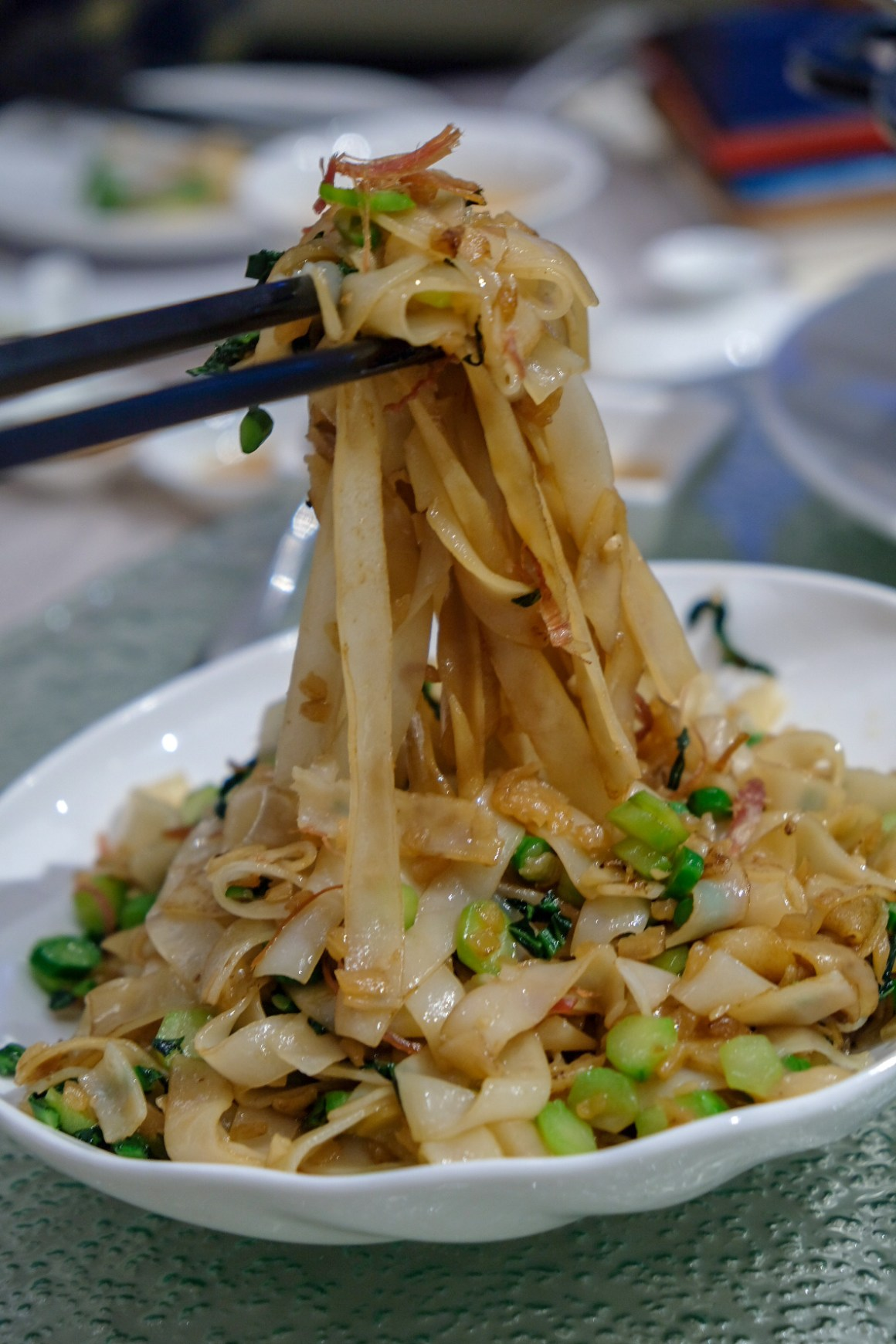 Zui Yu Xuan Teochew Restaurant At Far East Square - Wok Fried 'Kway Teow' with Dice 'Kai Lan' and Preserved Radish ($18-small/$27-medium/$36-large)