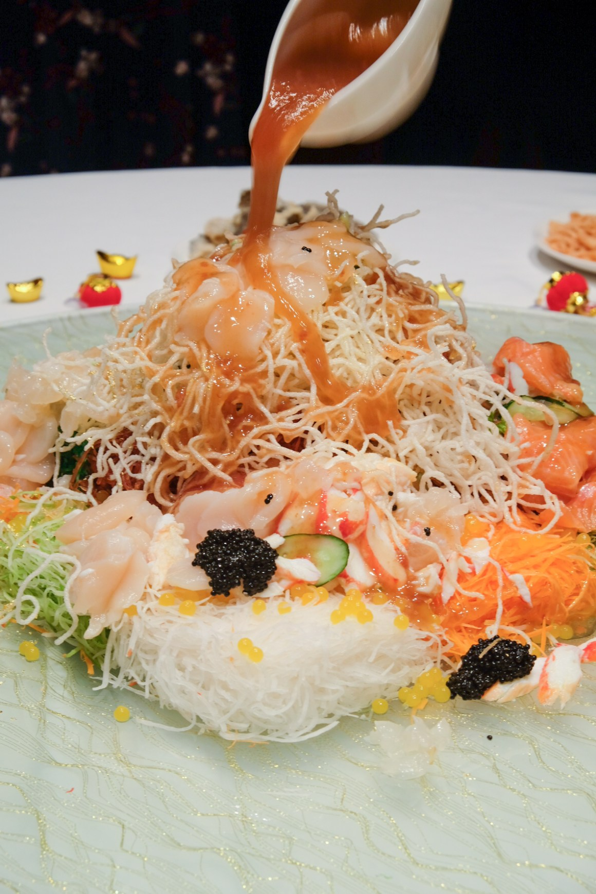 Usher 2020 Lunar New Year With Delectable Dining Options - Lobster, Alaskan Crab, Scallop, Salmon, Caviar & Crispy Fish Skin Yu Sheng with White Peach Sauce & Passion Fruit Pearls