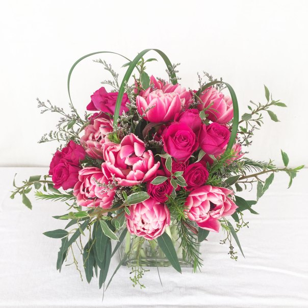 Centerpiece with Peony Tulips and Roses