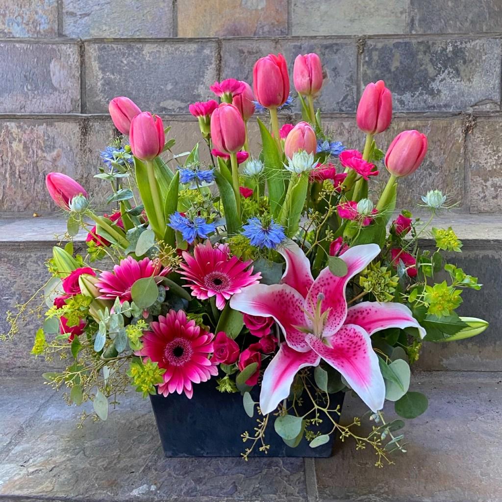 Tulips and Stargazer Lilies Birthday Arrangement