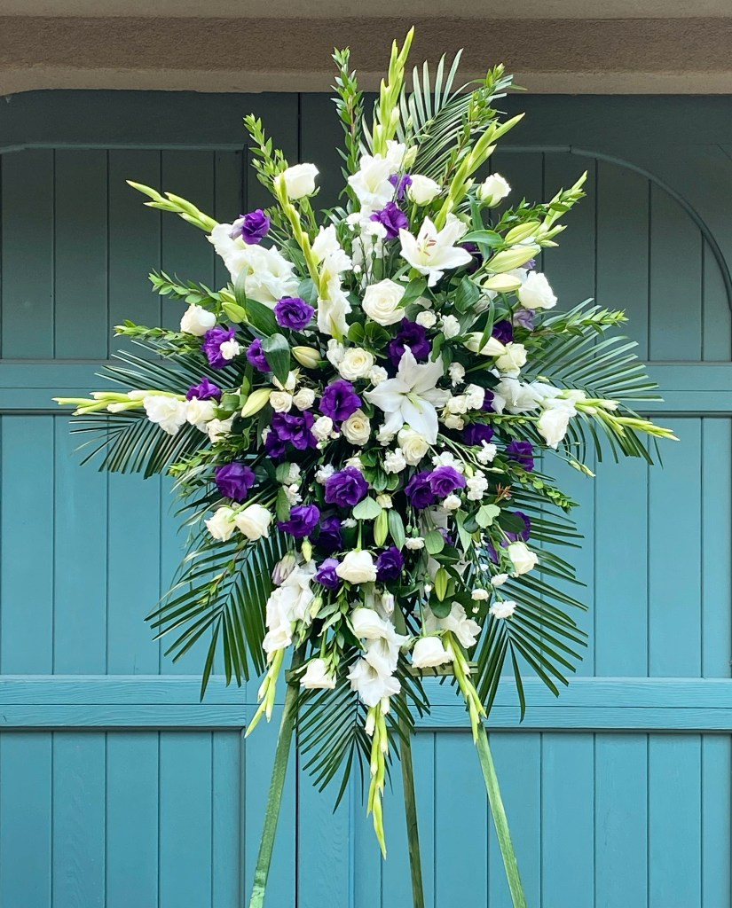 Large Purple and White Standing Spray