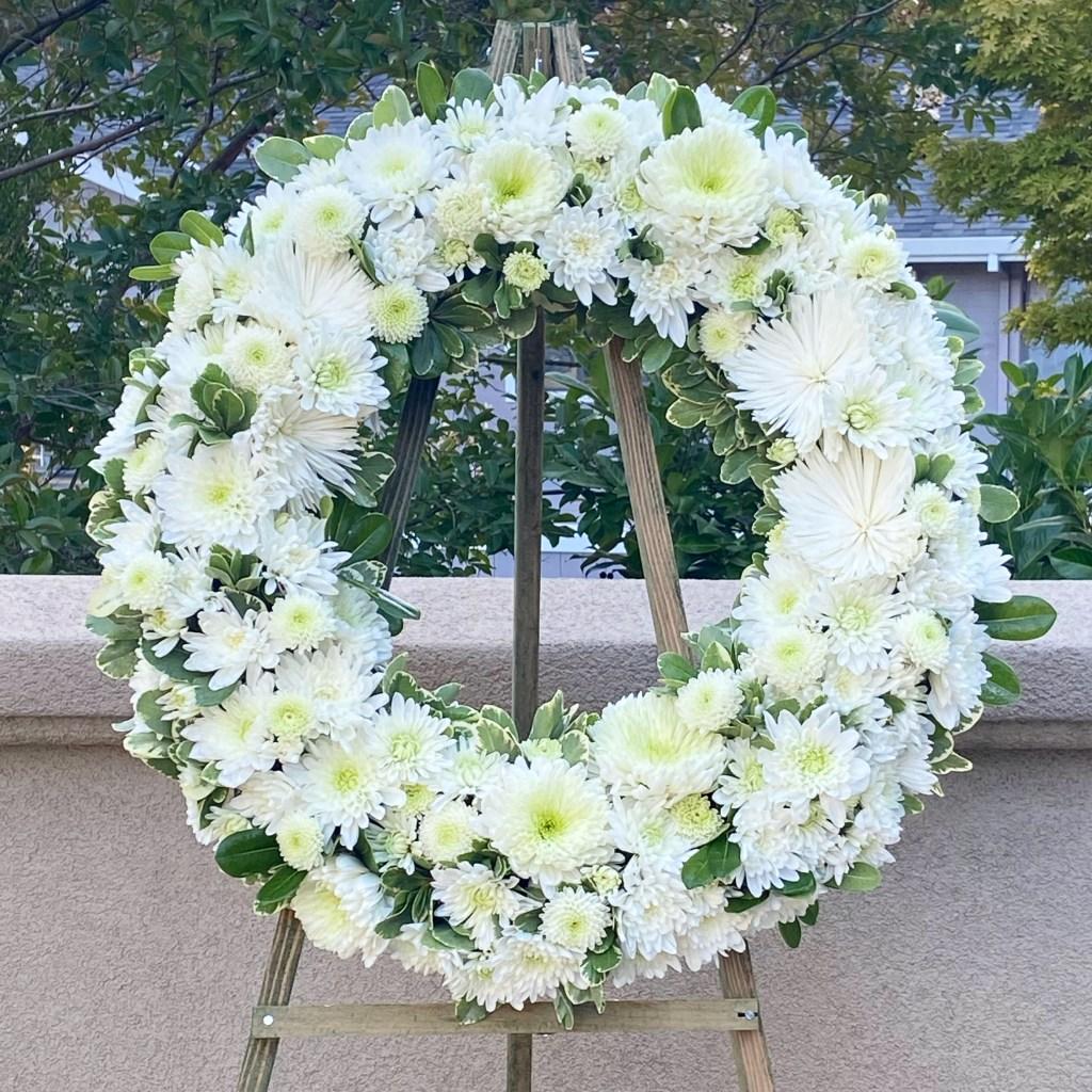All White Sympathy Wreath