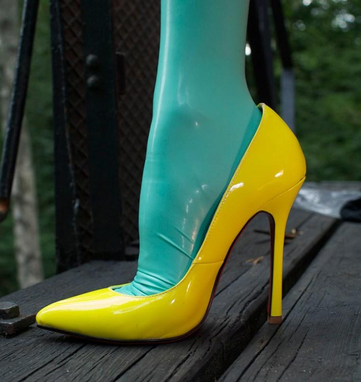 Jade green latex stockings