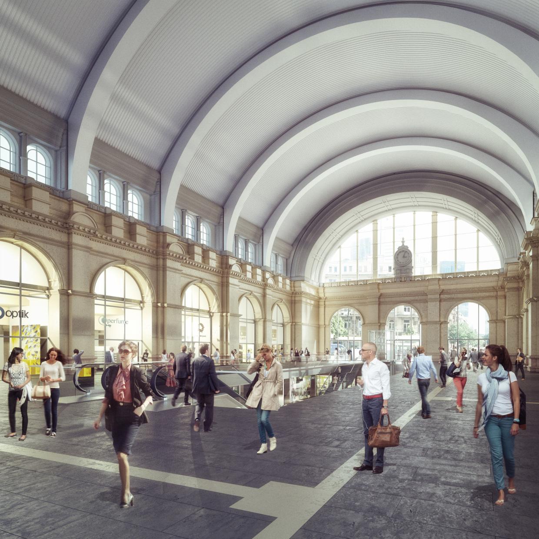 Visualisierung: Neugestaltete Empfangshalle Frankfurt am Main Hauptbahnhof mit Blickrichtung zur Stadt Frankfurt am Main. © Deutsche Bahn AG