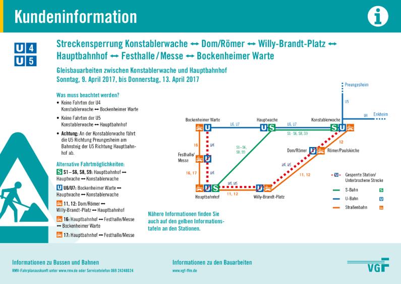 Kundeninformation zur Sperrung der Linien U4 und U5 zwischen Konstablerwache und Bockenheimer Warte mit alternativen Fahrtmöglichkeiten. © VGF