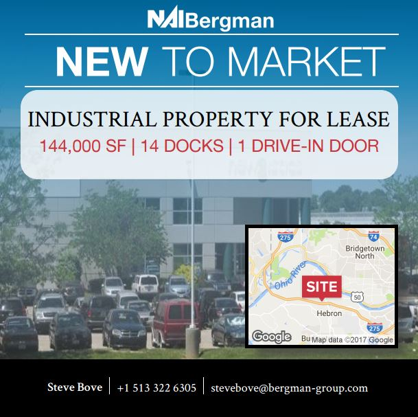 NAI Bergman, Leasing, Selling, Commercial Real Estate, CRE, Cincinnati Commercial Real Estate, Property Management, Cincinnati, Dayton, Office, Retail, Industrial, Medical, Multi Family, Land, Investment, Cincinnati News, Dayton News, Hebron KY, Steve Bove, Large Industrial, Kentucy