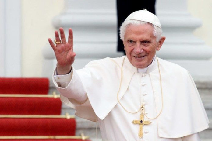 Pope Benedict says decision to resign entirely his own, has no regrets