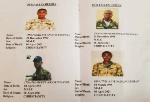 REVEALED: Military Releases Photographs of 2 Soldiers Killed In Benue state