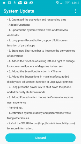 Android 7.0 Upgrade for Infinix S2 Pro
