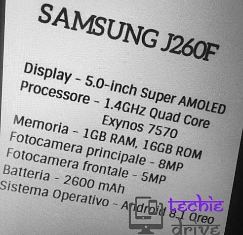 Samsung galaxy j2 core specs leak
