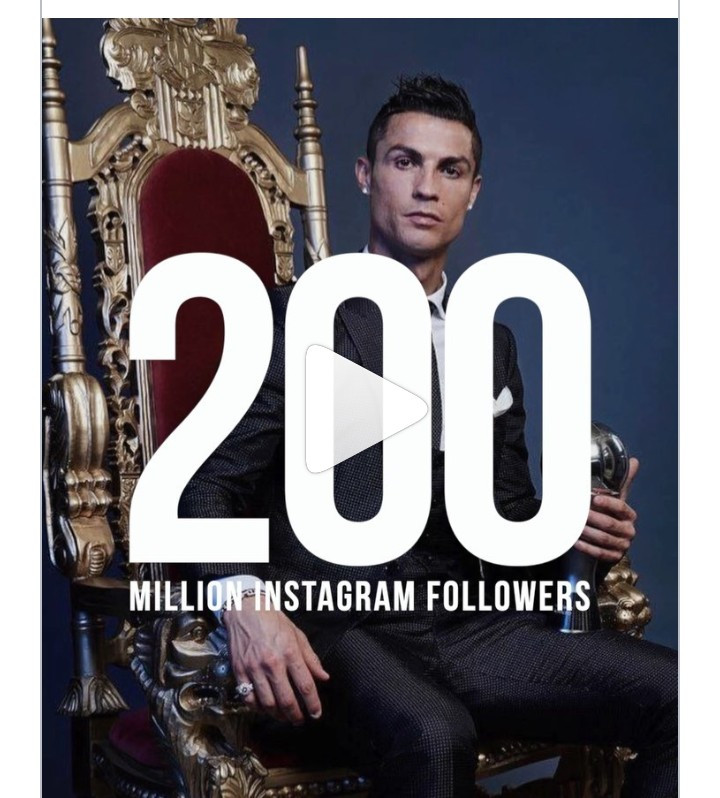 Cristiano Ronaldo has become the first Instagram user (besides Instagram) to gather 200 million followers on the platform.