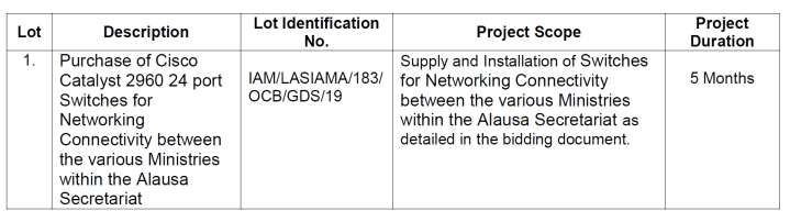 Lagos State Infrastructure Asset Management Agency (LASIAMA) Invitation for Bid for Supply and Installation of Switches for Networking Connectivity 1
