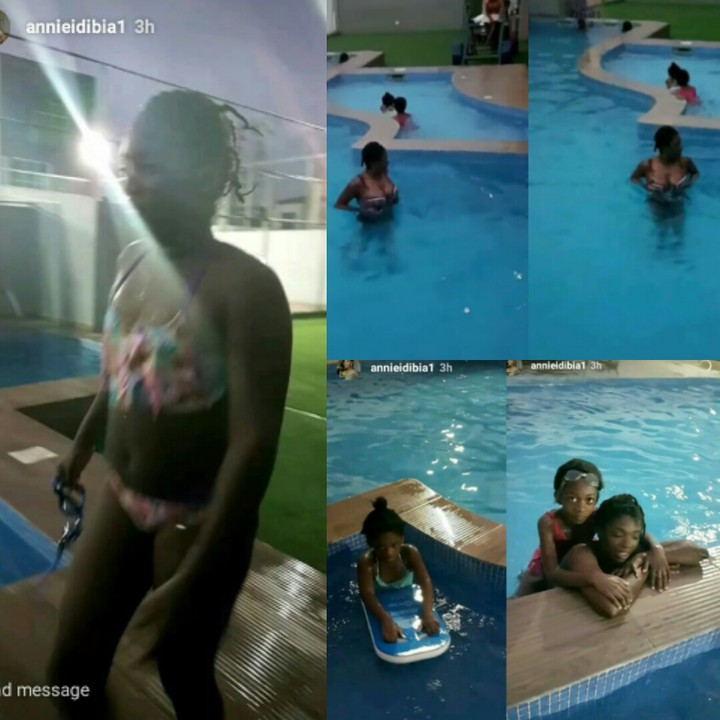 Annie Idibia Rocks Bikini, Swims With Her Daughter, Olivia (Photos)