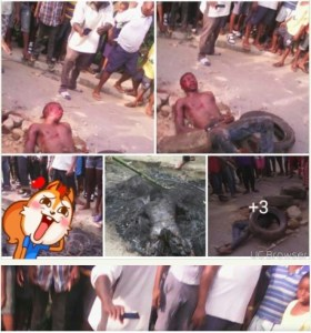 Oops Man Trying To Kidnap 4 School Kids & Their Mum Burnt In Calabar (Graphic Photos)