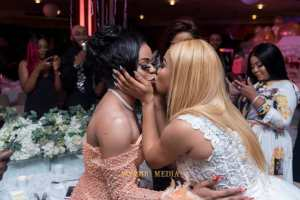 See The Moment Tonto Dikeh Kissed Bobrisky At Her 33rd Birthday Party (Photos)