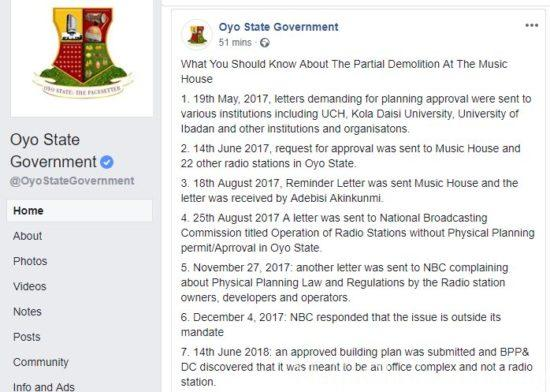 Oyo State Government List The Faults Of Singer Yinka Ayefele's Demolished Music House