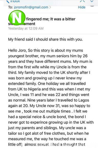 How I Felt When My Uncle Touched Me - UK-based Nigerian Lady