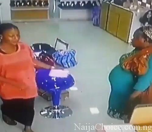 Pregnant Woman Caught On CCTV Allegedly Stealing Human Hair Extension In Lagos (Video)