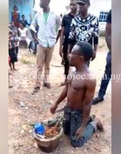 Young Man Caught While Trying To Bury 'Juju' In Uncompleted Building In Imo (Photos)
