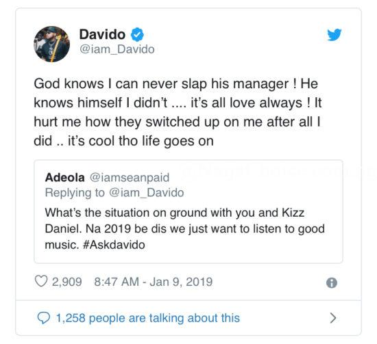Davido Labels Kizz Daniel And Manager As Traitors