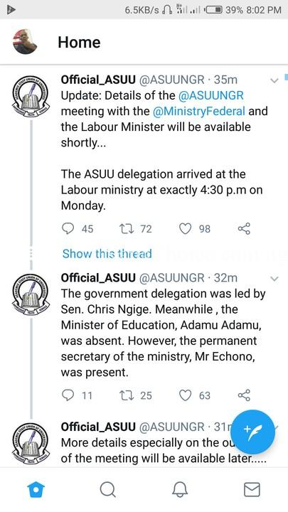 Updates On ASUU Meeting With Federal Government