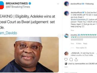 Davido Reacts As His Uncle, Ademola Adeleke Wins In Appeal Court