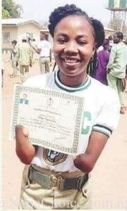 Female Corper Without Hands Shows Off Her NYSC Discharge Certificate (Photo)