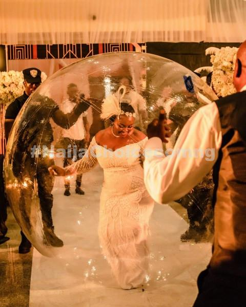Nigerian Bride Arrives Wedding Anniversary In Giant Inflatable Balloon (Photos)