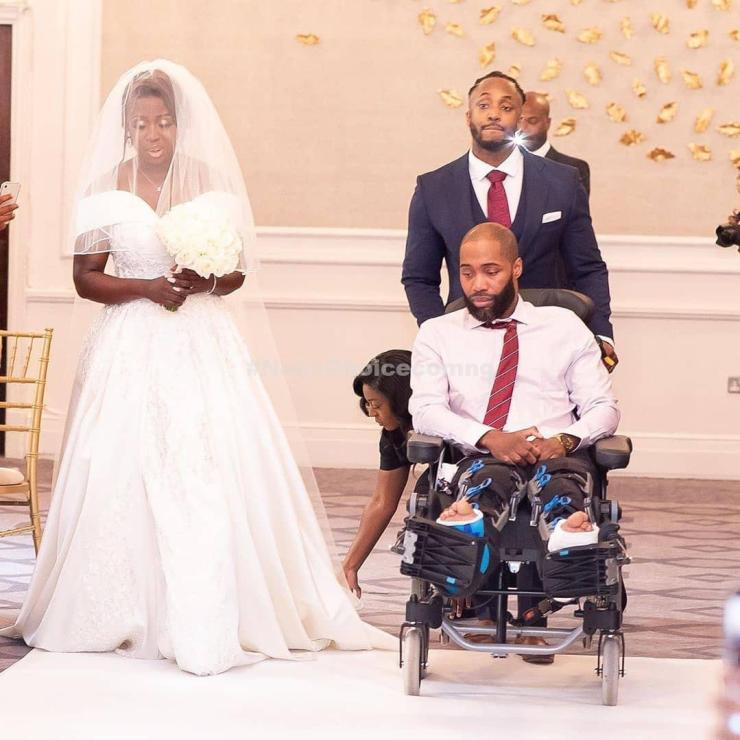 Bride Makes Her Brother Walk Her Down The Aisle Despite Suffering Horror Accident 2 Months To Her Wedding